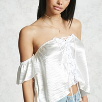 Off-the-Shoulder Satin Crop Top