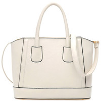 White Candy Color PU Leather Shoulder Bag