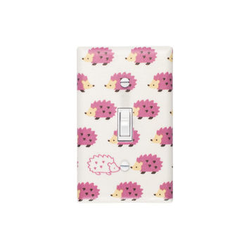 Hedgehog Light Switch Plate Cover / Baby Girl Nursery / Pink Lilac Purple / Kids Room / Japanese Import Fabric