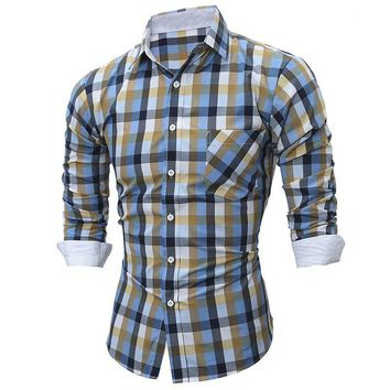 PODOM Brand Plaid Men's Long-Sleeve Button-Down Shirt
