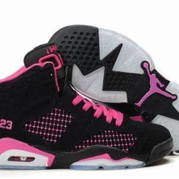 Hot Air Jordans 6 Women Shoes Embroidery Black Pink