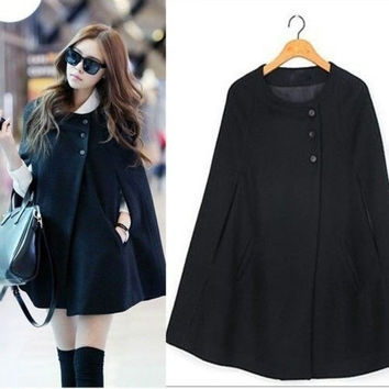 Details about  Casual Womens Cape Black Batwing Wool Poncho Jacket Lady Winter Warm Cloak Coat = 1946140100