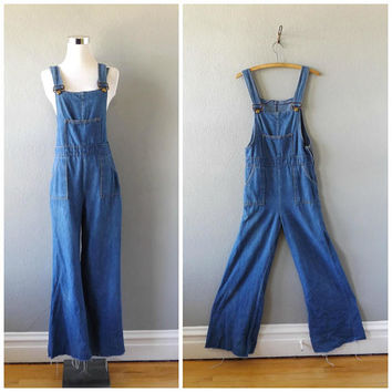 denim bell bottom overalls - vintage 70s wide leg blue jean jumpsuit - size xs / extra small - hippie boho cotton romper - 1970s bohemian