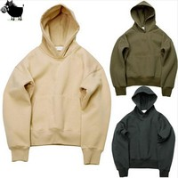 Man Si Tun 2017 Quality Nice Hip Hop Hoodies With Fleece WARM Winter Kanye West Hoodie Sweatshirt Swag Solid Olive  Pullover