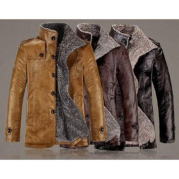 Men's  Stand Collar Fur Thickening  Jackets Waterproof Coat Men's Windbreak Leather Jacket Plus Size XS-6XL,Colors Black, Brown,