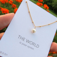 Single Pearl Necklace, Genuine real pearl on gold beaded chain, one in a million, danity chain with pearl, gold