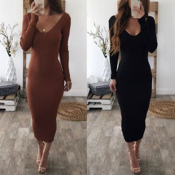 Women autumn winter sweater knitted dresses Slim elastic midi dress long sleeve sexy lady Bodycon robe dresses vestidos
