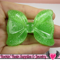 2 Pcs GREEN GLITTER BOWS Kawaii Flatback Resin Decoden Cabochons 54x41mm