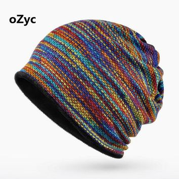 2017 High Quality  Winter Beanies Collar Scarf Women or Men's Hip Hop Crochet Knitted  Warm with Velvet Inside Unisex Scarf Hat
