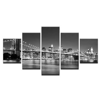 Black White Brooklyn Bridge City Night View Wall Art on Canvas Panel Print Home
