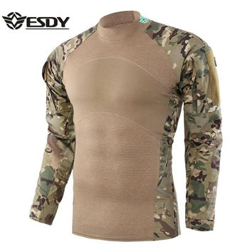ESDY New Tactical Shirt Men Outdoor Hunting Shirt Hunting Base Layer Camouflage Pattern Shirt Functional Hunting Clothes For Man