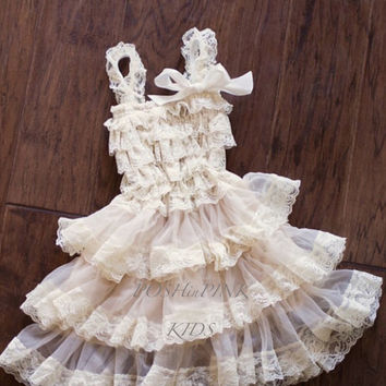 Rustic girl dress, country, Champaign, cream lace chiffon girls dress, flower girl, bridal wedding, birthday, shabby chic, vintage, holiday,