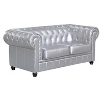Chestfield Loveseat, Silver Leather