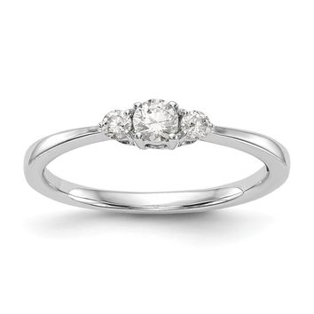 14K White Gold Complete Diamond 3-Stone Promise / Engagement Ring