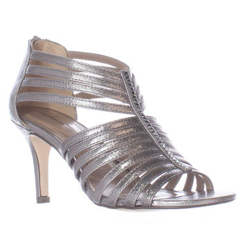 SC35 Shaynaa Strappy Jeweled T-Strap Sandals, Pewter, 7.5 US