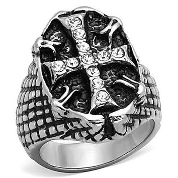 WildKlass Stainless Steel Cross Ring High Polished (no Plating) Men Top Grade Crystal Clear