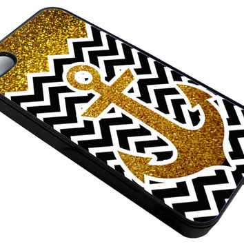 Anchor GLITTER Gold Elegan  iPhone 4/4S - Hard Plastic, Rubber Case