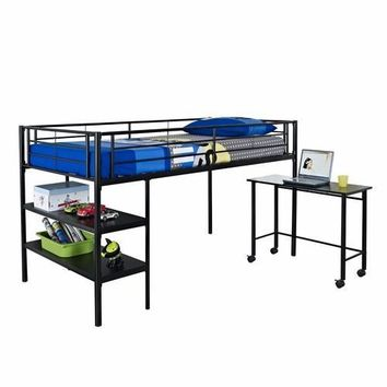 Amazing Twin Loft Bed with Desk and Shelves in Black by Walker Edison