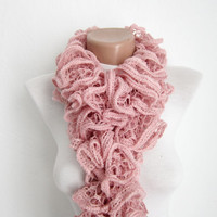 Handmade Knitting Pink  Scarf  Fall Fashion Frilly scarf Ruffled Scarf  Holiday Accessories
