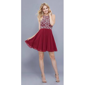 Sleeveless Beaded Bodice Chiffon Halter Short Prom Dress Burgundy