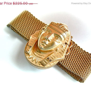 30%OFFsale Signed MIRIAM HASKELL Mesh Wrap King Tut Pharaoh Egyptian Wrap Bracelet Slide Designer Vintage Jewelry,