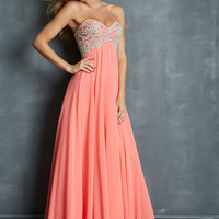 Night Moves 7027 - Coral Strapless Beaded Chiffon Prom Dresses Online