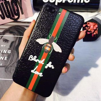 Background black Gucci Bee stripe iPhone Phone Cover Case For iphone 6 6s 6plus 6s-plu