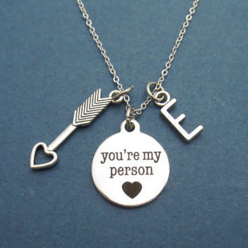 Personalized, Letter, Customized, Initial, Cupid, Arrow, Heart, You're my person, Grey's Anatomy, Necklace, Gift, Best friend, Jewelry