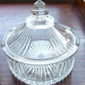 Vintage Cut Glass Round Covered Butter Dish.