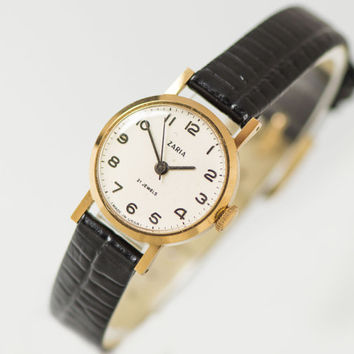 Classical woman's watch Dawn, gold plated lady watch petite, delicate girl watch gift, simple lady watch tiny, premium leather strap new