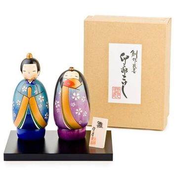 Stunning Hand Painted Joyful Japanese Kokeshi Doll Set