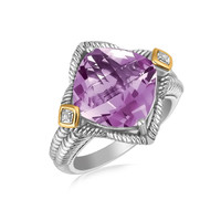 18K Yellow Gold and Sterling Silver Cushion Amethyst and Diamond Accent Ring: Size 6