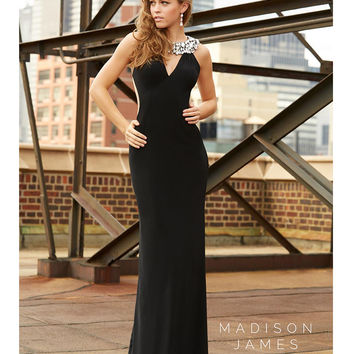 Madison James 15-115 Black Embellished Neck Mesh Back Gown 2015 Prom Dresses