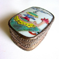 Chinese Hand Painted Porcelain Trinket Box, Tin Embossed, Vintage