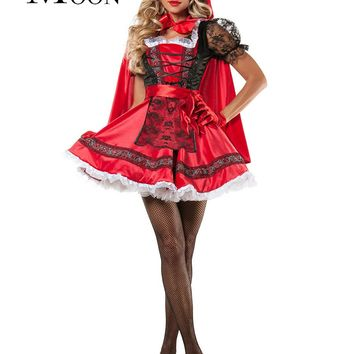 MOONIGHT Little Red Riding Hood Princess Dress Little Red Riding Hood Dress Halloween Costume for Women Party Cosplay Suit