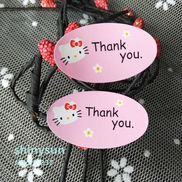 """160pcs/lot Gift  Packaging pink hello kitty sealing paste sticker """"thank you""""packaging sticker Baking decoration"""