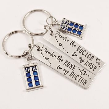 You're the Rose to my Doctor / You're the Doctor to my Rose - Doctor Who Inspired Keychains