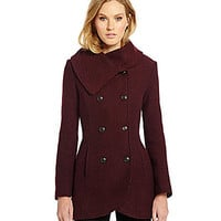 Jessica Simpson Double-Breasted Basketweave Tulip Peacoat