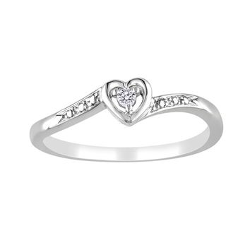 Diamond Accented Heart Promise Ring