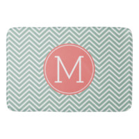Mint and Coral Chevrons with Custom Monogram Bath Mats