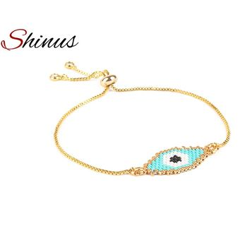 Shinus MIYUKI Bracelet Evil Eye Bracelets Pulseras Gold Color Delicate  Seed Beads Adjustable Handmade Woven Her Women Gifts New