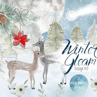Winter Gleam | winter clipart, christmas clipart, deer clipart, fawn, PNG, hand painted, greting card, diy card,poinsettia,pine cone,clipart