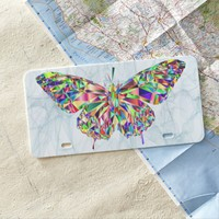 Diamond Butterfly in Smokey Background Texture License Plate