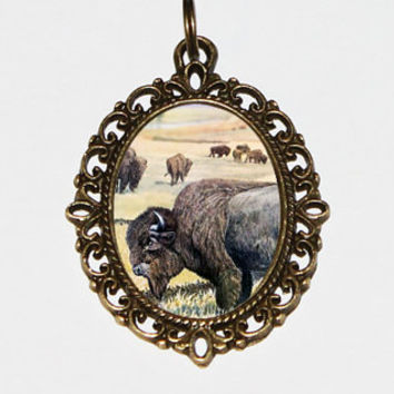 Buffalo Necklace, Bison, Animal Jewelry, Bronze Oval Pendant