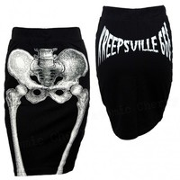 Kreepsville 666 Skeleton Pencil Skirt