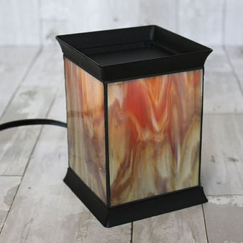 Electric Handmade Stained Glass Candle Warmer Lamp, Fragrance  Lamp, desk lamp, tart burner, wax melter [ Creamy Confection ]