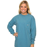 Embroidered Long Sleeve Tee in Twilight Blue by The Southern Shirt Co.