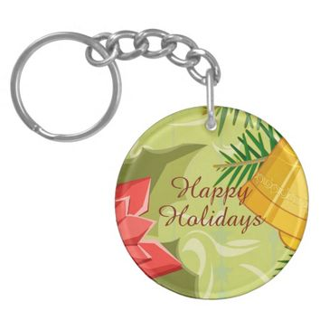 Golden Mint Christmas Double Sided Keychain