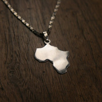 African Continent Pendant Necklace - Sterling Silver 925