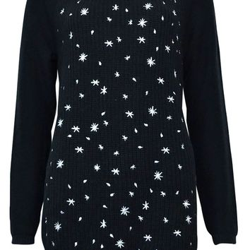 Style & Co. Women's Embroidered Snowflake Tunic Sweater